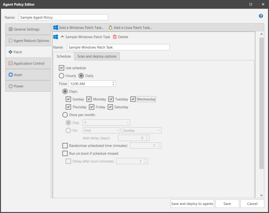 Creating and Configuring a Patch Task