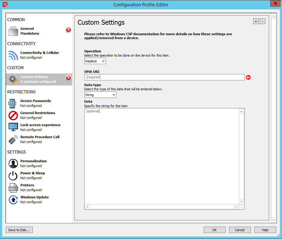 Agent settings: Windows MDM Configuration