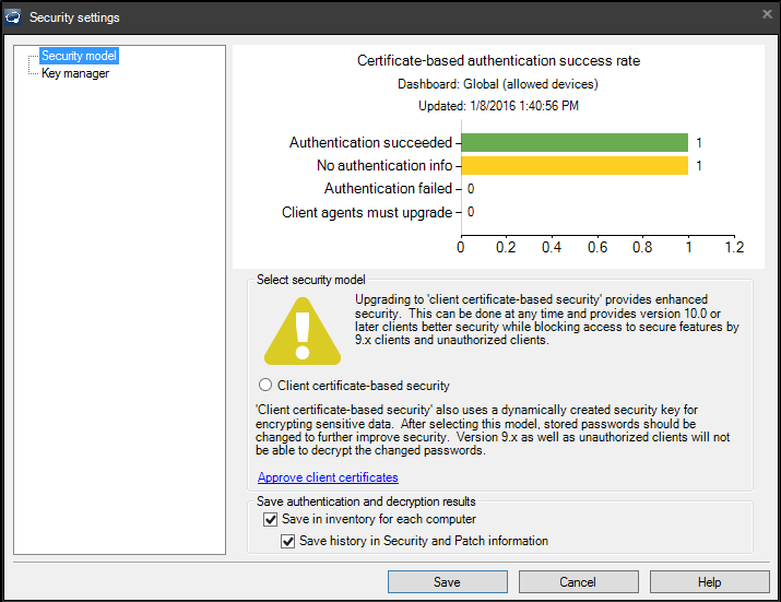 Client certificate-based security