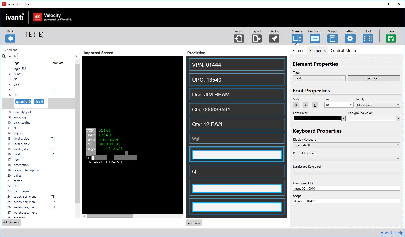 Velocity   Editing Screen Elements